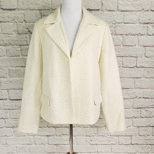 Tahari Ivory Wool Blend Open Front Blazer Jacket